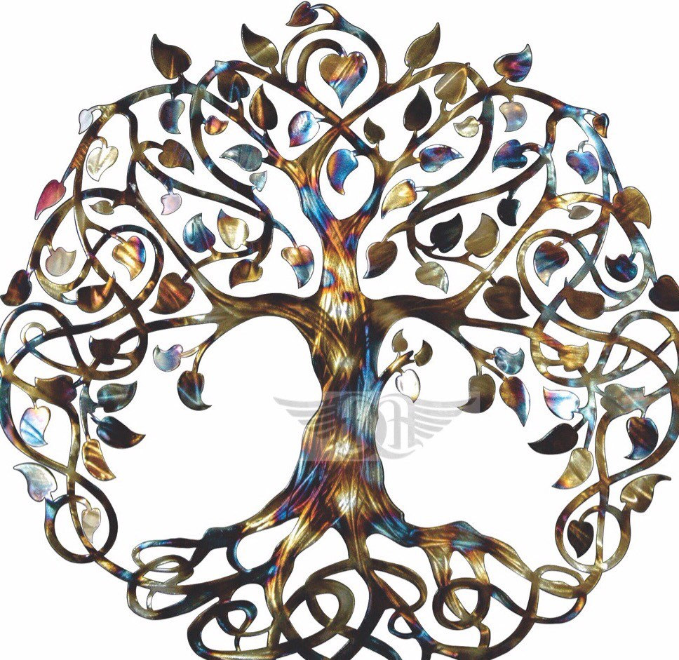 Infinity tree tree of life metal wall art metal tree art for Indische wanddeko