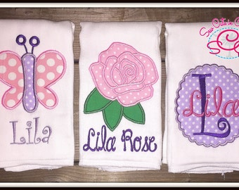 Rose and Butterfly Themed Monogrammed Boutique Burp Cloths (Set of 3)