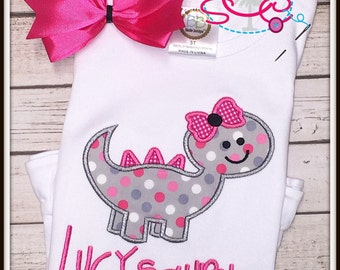 Personalized Dino Girl Applique Shirt/Bodysuit