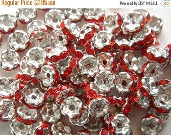 SALE 20 8mm Red Crystal Rondelle Spacer Beads