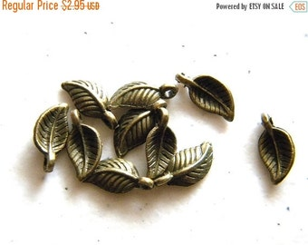 SALE 10 Small Bronze Leaf Charms - 14mm
