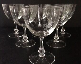 "Set of 6 Vintage ""Atomic"" Etched Glass Wine Glasses"