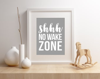 Nursery Wall Art - No Wake Zone - 8x10 Sign - Instant Download