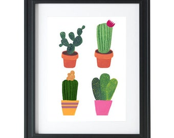 Cacti wall art, picture, print, illustration, poster,wall decor, A4, A3