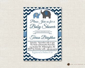 Baby Shower Invitation, Elephant Baby Shower Invitation, Baby Blue Elephant Baby Shower Invitation, DIY, Boy, Instant Download, Editable