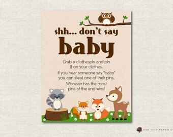 Woodland Animal Dont Say Baby Sign, Diaper Pin Game, Baby Shower Don't Say Baby, Baby Shower Diaper Pin Game, Dont Say Baby Game - Printable