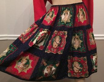 Ugly Christmas circle skirt /  cute actually / elastic waist / angels / small
