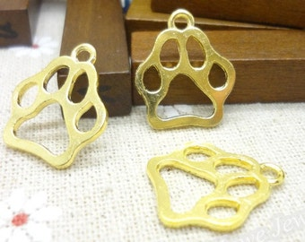 7 -  Double Sided Gold Plated Paw Print Charms