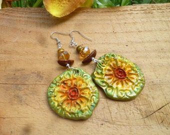 handmade clay sunflower earrings