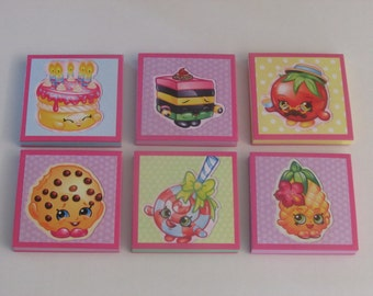 Shopkins Set #4  Note Pads Set of 6 - Excellent Party Favors - Shopkins Birthday - Shopkins Party Favors - Shopkins Mini Note Pads
