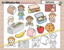 School Cafeteria Lunch Fun ClipArt