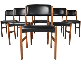 ON SALE - Mid-Century Danish Teak Dining Chairs - Set of Six Danish Modern Teak Dining Chairs