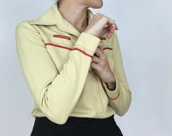 70s Polyester Cowboy Tunic Shirt // Size XS / S