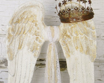 Angel Wing Sculpture,Angel Wing Decor,Standing Angel Wings,Angel Decor,Angel Wings with Crown,Crown and Angel Wings,Wings Decor,Wings