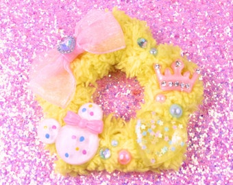 Yellow fuzzy star two way clip-sweet lolita-fairy kei-gothic lolita-lolita hair clip-fairy kei clip-hair accessory-cabochon-rhinestone