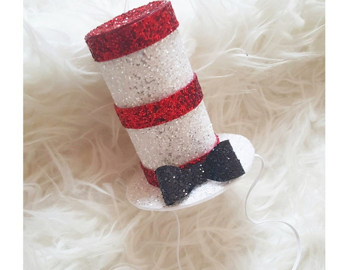 Dr. Suess Cat in the Hat Inspired Glittery Hat Headband