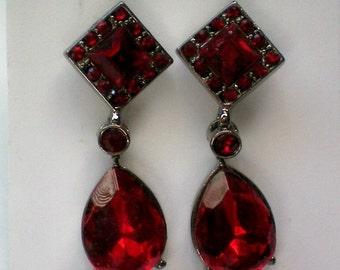 Ruby Red Faceted Glass Pierced Dangle Earrings - 4367