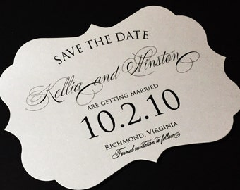 Classic Save the Date - Elegant Save the Dates, Timeless Wedding Save the Dates with Script Calligraphy Save the Date, Die-Cut Save the Date