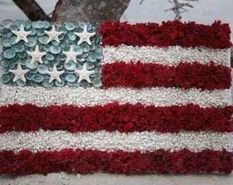 Handmade Original Design One of a Kind Seashell Old Glory American Flag