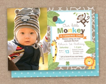 First Boy Birthday Monkey & Jungle Animals Invitation with Photo, Safari, DIY Printable