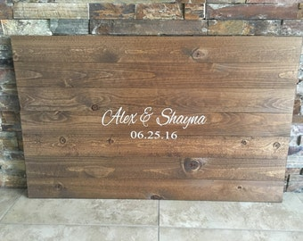 Rustic Wooden Alternative Wedding Guestbook Unique Guest Book