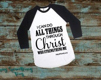 I can do all things through Christ who strengthens me Raglan Kid Shirt, Philippians 4, Christian Raglan, Bible Verse Shirt, Kid Bible Shirt