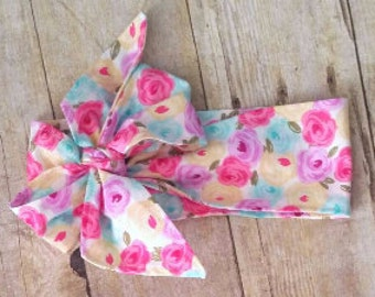 Spring Floral Bow Headwrap for Babies, Toddlers, and Girls.