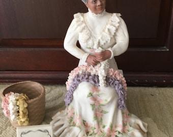 Vintage rare porcelain detailed Hawaiian lei seller figurine by Julene Mechler