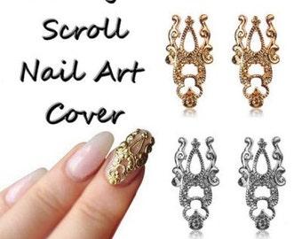Metal Vintage Scroll Nail Art Cover Plate
