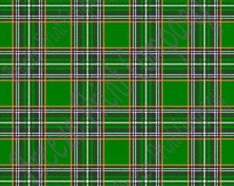 Green, orange, white and black tartan plaid craft  vinyl sheet - HTV or Adhesive Vinyl -  St Patrick's Day HTV1820