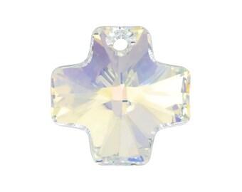 SWAROVSKI® Crystal Cross Article# 6866 20mm Faceted Cross Pendants,  Aurora Borealis,Two(2)Crystal Cross Pendants