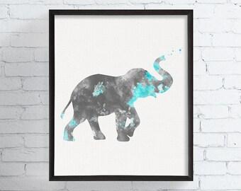 Baby Elephant Nursery, Elephant Art Print, Watercolor Elephant, Baby Boy Nursery, Animal Wall Art, Kids Art, Childrens Art, Nursery Decor