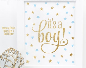Its A Boy Sign, Twinkle Twinkle Little Star Baby Boy Shower Decorations, Welcome Sign, Baby Blue Gold Glitter Printable 8x10 It's A Boy