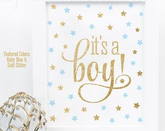 Its A Boy Sign, Twinkle Twinkle, Shower Decorations, Boy Baby Shower Sign, Welcome Sign,  Baby Blue Gold Glitter Printable 8x10 It's A Boy