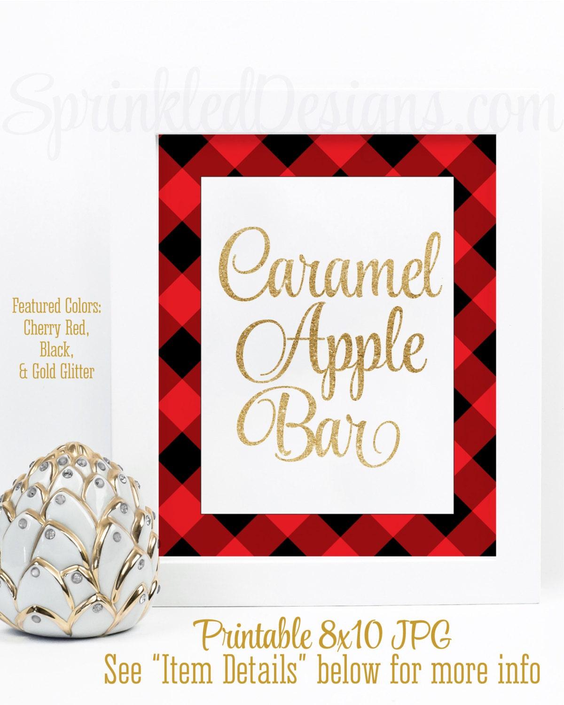 Caramel Apple Bar Sign Gold Red Black Buffalo Plaid Flannel