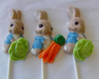 Peter Rabbit Candy Baby Lollipops or Candies-Perfect for Peter Rabbit 1st Birthdays/Easter/Some Bunny Is One/Smash Cakes/Baby Showers (12)