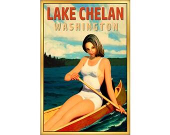 Lake Chelan Washington State Travel Poster Pacific Northwest Canoe Pin Up Art Print 273