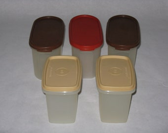 Set of 5 vintage Tupperware storage containers plastic