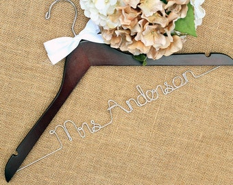 Personalized Bridal Hanger, Wedding Hangers, Bride Hanger, Mrs Hanger, Custom Hanger