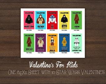 Star Wars Valentine's-Yoda-ObiWan-Chewbacca -Sith- DarthVader-Hans Solo-R2-Droid-Kids Valentines-Digital-Printable