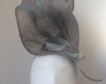 Grey Tall Sinamay Shaped Ascot/wedding/party Hat with Feathers and Strip Straw - Handmade - Unique