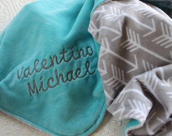 Baby Blankets,  Personalized Baby Blanket with Name, Baby Blankets Personalized Name Baby Blanket Personalized, Arrows, Minky Baby Blanket