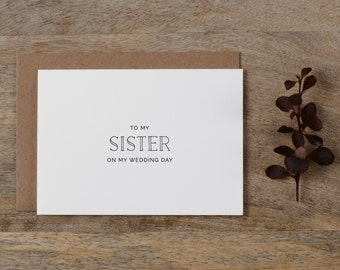 To My Sister On My Wedding Day Card - To My Sister Wedding Card, Wedding Stationery, To My Sister Thank You Wedding Card, Wedding Note, K5