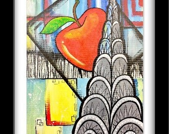 Chrysler Building Painting, abstract artwork, nyc artwork, modern wall decor, house warming gift, Original acrylic canvas, acrylic painting