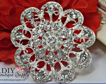 Large Rhinestone Brooch Pin - Crystal Brooch - Wedding Rhinestone Brooches - Rhinestone Brooch 65mm 040175