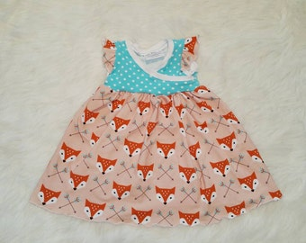 Fox Dress, Fox Birthday, Toddler Dress, Girls dress, Summer dress, First Birthday