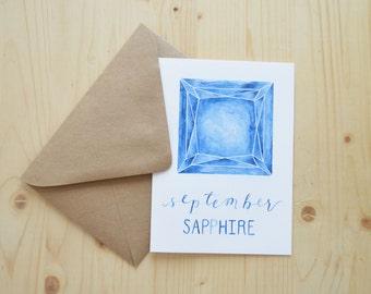 September Birthday Card - September Birthstone Card - September Sapphire Card - Sapphire Birthday Card - Watercolor Birthday Card