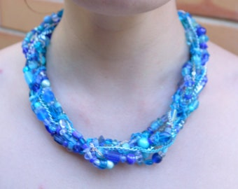 Blue Glass & Chain Statement Necklace