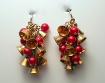 Vintage Avon clip on earrings Christmas earrings Bells and Holly Dangle earrings cluster