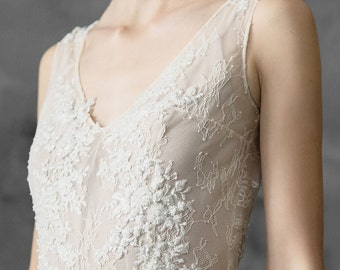 Chiffon and lace beaded wedding dress, simple bridal gown // Kyrene